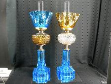 ANTIQUE PAIR EAPG PATTERNED GLASS SKY BLUE-AMBER-CLEAR OIL KEROSENE LAMPS