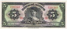 1963 Mexico 5 Pesos GYPSY UNC Mexican banknotes Billete Cinco Sin Circular CRISP