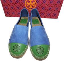 Tory Burch Blue Lonnie Canvas Flat Slip on Loafer Espadrille Ballerina Shoe 7