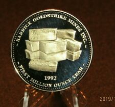 1992 Barrick Gold 1 OZ Troy 999 Pure Silver
