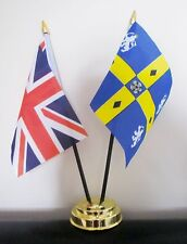 UNION JACK AND COUNTY DURHAM OLD TABLE FLAG SET 2 flags plus GOLDEN BASE