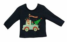 NEW! Baby Boys Blue Reindeer North Pole Christmas Xmas Long Sleeve Top Age 0-3-6