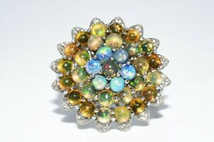 4.25CT NATURAL OPAL & WHITE TOPAZ SILVER CLUSTER RING SIZE 7.5