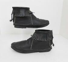 Vintage 70's USA Made Black Leather Fringed Moccasins Ankle Boots Booties Size 6