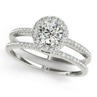 0.70 Ct Round Cut Diamond Engagement Ring Band Set 14k White gold Size M 1/2