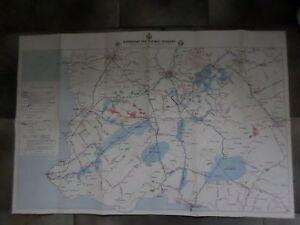 1946 Netherlands fold out map ~ Waterkaart van Zuidwest Friesland