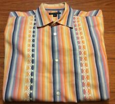 Banana Republic Large Multi Colored Button Short Sleeve Shirt Flower Embroidered