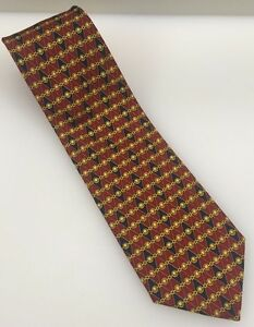 Brooks Brothers Red Blue Gold Chain Links Ovals 100% Silk Tie Hand Made In USA