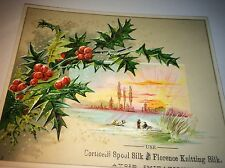 Antique Victorian Corticelli Knitting Silk Advertising Winter Sunrise Trade Card