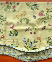 """Waverly Valance Florals & Butterflies Scalloped edge 74 x 16.5"""" Beige Pink Green"""