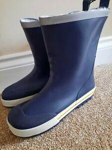 Boys WELLINGTONS ankle wellies short sizes UK 12, 1 & 2 navy fluffy lined FREEPP