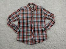 Scotch And Soda Button Up Shirt Mens XL Extra Large Orange Blue Plaid Amsterdam