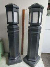 Vintage Pair Older Japanese Bollard Garden Walkway Path Lights 2 Cast Aluminum