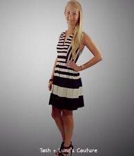 ABS Allen Schwartz Small Size 6 Striped Sleeveless Dress Black Wedding Guest