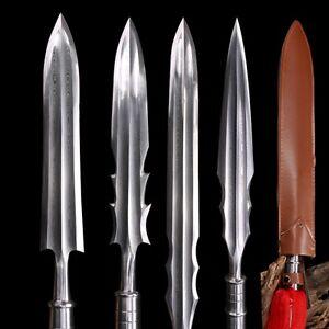 Overlord Spear pike Battle ready Sword Spearhead pattern steel blade sharp #0086