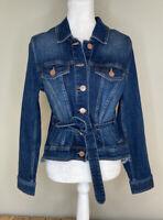 Cabi Women's Button Up Belted Denim Jacket Size M Dark Blue Wash i7