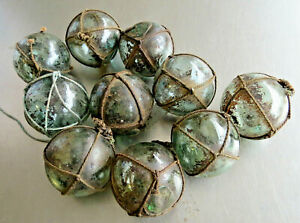 """Japanese Glass Fishing FLOATS 2"""" Lot 10 NETTED Grungy Grubby Rust Pool Tiki Vntg"""