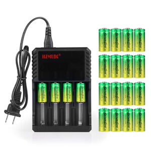 SkyWolfEye 16340 Battery 3.7V 1800mAh Li-Ion Rechargeable RCR123A Charger US Lot