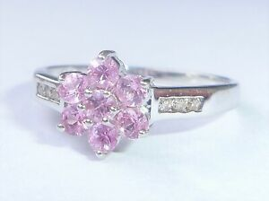 9ct White Gold Pink Sapphire & Diamond Flower Ring, Size N
