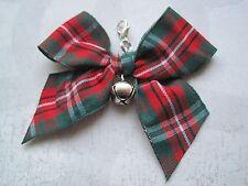 RED GREEN TARTAN BOW JINGLE BELL Cat Small Dog Collar Pet Charm Clip on Xmas