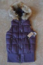 TRUE RELIGION DOWN PUFFER Vest W/ Faux Fur Hood M NWT$299 TR Logo's! Dark Plum
