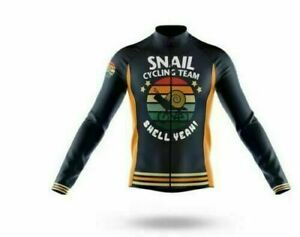Men's Retro Cycling Jersey Snail Novelty Long Sleeve Bicycle Team Racing Shirt
