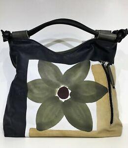 Borsa chiave natura Giglio Fiori modello-in stile vintage-stile LEAS Vera Pelle-Marrone