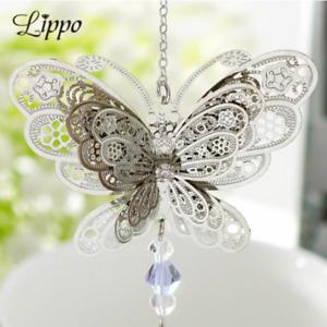 Large silver 3D butterfly suncatcher pendant connector
