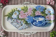 Rare! Vtg Kitsch Floral Rose China Tea Cup Saucer Spoon Glasses Serving Tray