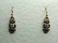 SMALL OWL DROP EARRINGS opal GLASS CRYSTAL peach EYES GOLD PLATE HOOK EARWIRE