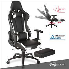 Uenjoy Gaming Stuhl Bürostuhl Schreibtischstuhl mit Fußstütze Schwarz & Weiß