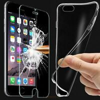 Ultra Thin Clear TPU Gel Case Cover & Real Tempered Glass Protector For Phones