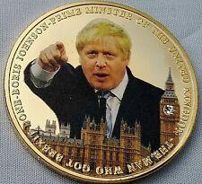 BORIS JOHNSON Gold Coin BREXIT  Union Jack Big Ben Gem Prime Minister Leave EU