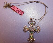 "New ""Betsey Johnson"" Iridescent CELTIC Cross Necklace 3"" x 2"" Adjustable Length"