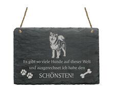 Schiefertafel « ALASKAN MALAMUTE - SCHÖNSTER HUND » Spruch Hunde Wanddekoration