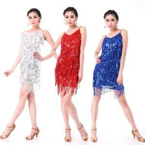 Latin dance dress Salsa Tango Ballroom Dance Dress Tassel Sequins Skirt Carnival