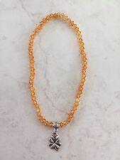 Anklet Beaded 4mm Orange Beads Silver Lucky Four Leaf Clover Charm Bail boho