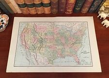 XLARGE Original 1891 Antique Map UNITED STATES of AMERICA The Grand USA
