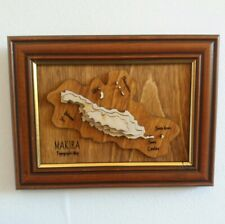 Wooden Topographic map of Makira Solomon Island Pacific Sea Wall hanging Framed
