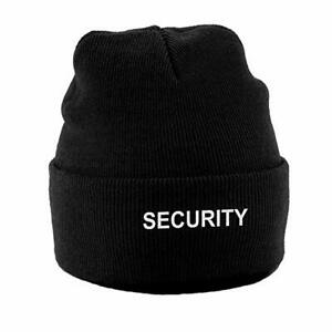 Embroidered Security Beanie Hat  - Black, grey, Navy