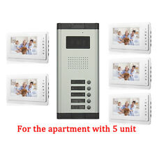 Apartment 5 Unit Intercom Entry System Wired Video Door Phone Audio Visual