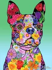 Flowers House Flag - Boston Terrier 96032