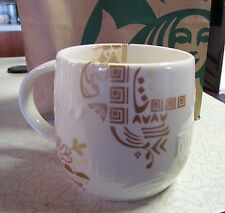 New Starbucks Aztec Summer 3 Regions Gold Relief Bone China Mugs Tags