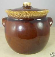 "Hull USA Brown Drip Pottery Large Bowl & Lid Ovenproof 6.5"" tall"