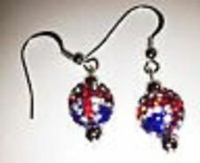 SHAMBALLA UNION JACK  DROP EARRINGS WITH 1 CLAY CZECH CRYSTAL DISCO BEAD-UK SELL