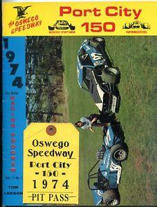 Oswego Speedway Auto Race Program- Port City 150 1974 w/ pit pass