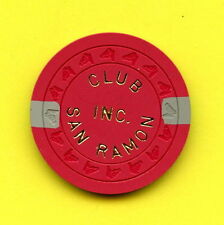 OLD VINTAGE 1968 CALIF CARD ROOM CHIP - 25 CENT - CLUB SAN RAMON - SAN RAMON CA