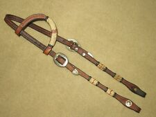 New listing High Quality 1-Ear Western Headstall Bridle with BRAIDED ACCENTS & ALPACA SILVER