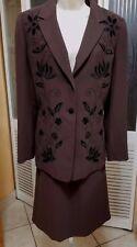 Le Suit Ladies Beautiful Floral Brown Skirt Suit - Sz 10