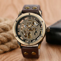 SHENHUA Men's Automatic Mechanical Skeleton Wrist Watch Leather Band Luxury